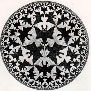 """M.C. Escher's Tessalation:  """"Circle Limit IV""""  (Woodcut, 1960)"""