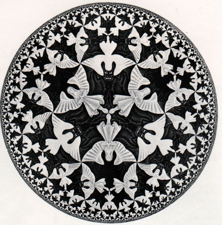 "M.C. Escher's Tessalation:  ""Circle Limit IV""  (Woodcut, 1960)"