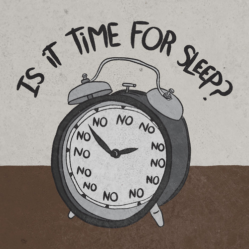 """the voice from the clock says, """"You're not gonna get tired"""""""